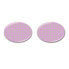 Pastel Mod Pink Green Circles Cufflinks (oval) by BrightVibesDesign