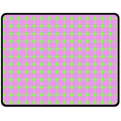 Pastel Mod Pink Green Circles Fleece Blanket (medium)  by BrightVibesDesign