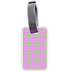 Pastel Mod Pink Green Circles Luggage Tags (one Side)  by BrightVibesDesign
