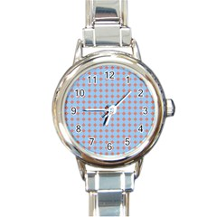 Pastel Mod Blue Orange Circles Round Italian Charm Watch by BrightVibesDesign