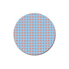Pastel Mod Blue Orange Circles Magnet 3  (round) by BrightVibesDesign