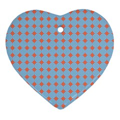 Pastel Mod Blue Orange Circles Heart Ornament (two Sides) by BrightVibesDesign