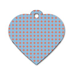 Pastel Mod Blue Orange Circles Dog Tag Heart (two Sides) by BrightVibesDesign