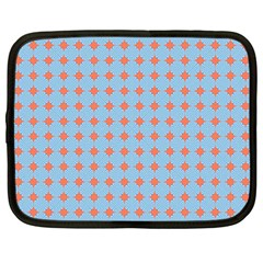 Pastel Mod Blue Orange Circles Netbook Case (large) by BrightVibesDesign