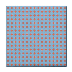 Pastel Mod Blue Orange Circles Face Towel by BrightVibesDesign