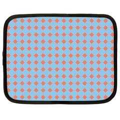Pastel Mod Blue Orange Circles Netbook Case (xxl) by BrightVibesDesign