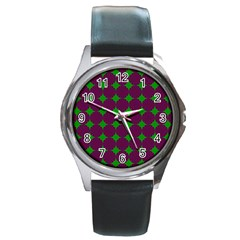Bright Mod Pink Green Circle Pattern Round Metal Watch by BrightVibesDesign