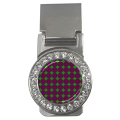 Bright Mod Pink Green Circle Pattern Money Clips (cz)  by BrightVibesDesign