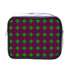 Bright Mod Pink Green Circle Pattern Mini Toiletries Bag (one Side)