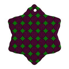 Bright Mod Pink Green Circle Pattern Snowflake Ornament (two Sides) by BrightVibesDesign