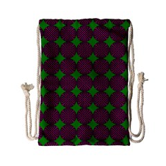 Bright Mod Pink Green Circle Pattern Drawstring Bag (small) by BrightVibesDesign