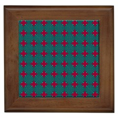 Mod Teal Red Circles Pattern Framed Tiles by BrightVibesDesign