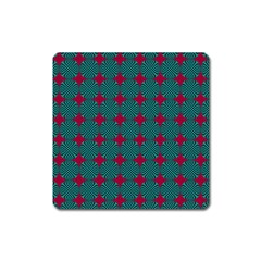 Mod Teal Red Circles Pattern Square Magnet by BrightVibesDesign