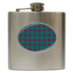 Mod Teal Red Circles Pattern Hip Flask (6 Oz) by BrightVibesDesign