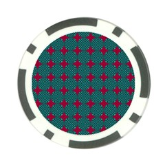 Mod Teal Red Circles Pattern Poker Chip Card Guard (10 Pack) by BrightVibesDesign