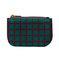 Mod Teal Red Circles Pattern Mini Coin Purse by BrightVibesDesign