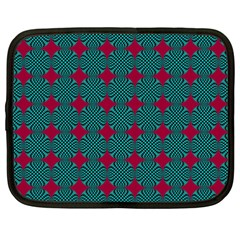 Mod Teal Red Circles Pattern Netbook Case (xxl) by BrightVibesDesign