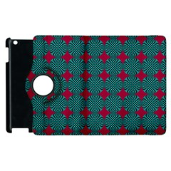 Mod Teal Red Circles Pattern Apple Ipad 2 Flip 360 Case by BrightVibesDesign