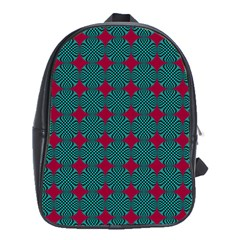 Mod Teal Red Circles Pattern School Bag (xl) by BrightVibesDesign