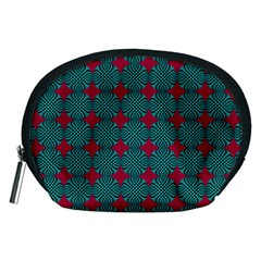 Mod Teal Red Circles Pattern Accessory Pouch (medium) by BrightVibesDesign