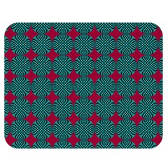 Mod Teal Red Circles Pattern Double Sided Flano Blanket (medium)  by BrightVibesDesign
