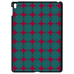 Mod Teal Red Circles Pattern Apple Ipad Pro 9 7   Black Seamless Case by BrightVibesDesign