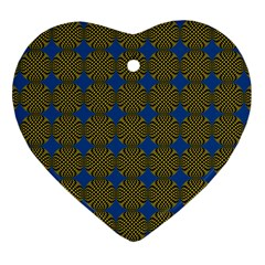 Mod Yellow Blue Circles Pattern Heart Ornament (two Sides) by BrightVibesDesign