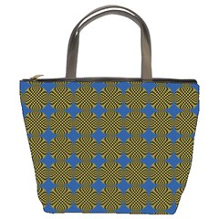 Mod Yellow Blue Circles Pattern Bucket Bag by BrightVibesDesign