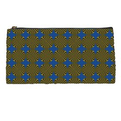 Mod Yellow Blue Circles Pattern Pencil Cases by BrightVibesDesign