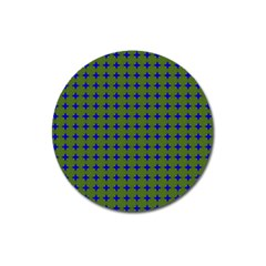 Mod Circles Green Blue Magnet 3  (round) by BrightVibesDesign