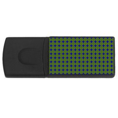 Mod Circles Green Blue Rectangular Usb Flash Drive by BrightVibesDesign