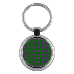 Mod Green Purple Circles Pattern Key Chains (round)  by BrightVibesDesign