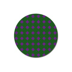 Mod Green Purple Circles Pattern Magnet 3  (round) by BrightVibesDesign
