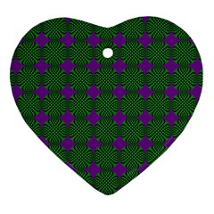 Mod Green Purple Circles Pattern Heart Ornament (two Sides) by BrightVibesDesign