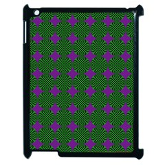 Mod Green Purple Circles Pattern Apple Ipad 2 Case (black) by BrightVibesDesign