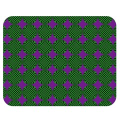 Mod Green Purple Circles Pattern Double Sided Flano Blanket (medium)  by BrightVibesDesign