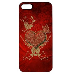 Wonderful Decorative Heart In Gold And Red Apple Iphone 5 Hardshell Case With Stand by FantasyWorld7