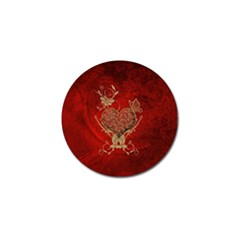 Wonderful Decorative Heart In Gold And Red Golf Ball Marker (10 Pack) by FantasyWorld7