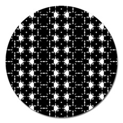Black And White Pattern Magnet 5  (round)