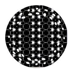 Black And White Pattern Round Filigree Ornament (two Sides)