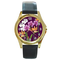 White Blossom Flower Round Gold Metal Watch by Simbadda