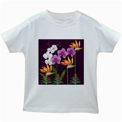 White Blossom Flower Kids White T Shirts