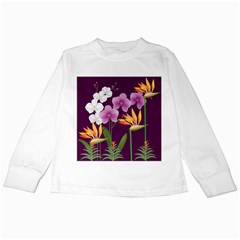 White Blossom Flower Kids Long Sleeve T Shirts