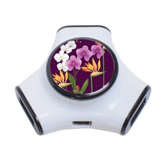 White Blossom Flower 3 Port Usb Hub