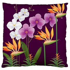 White Blossom Flower Large Cushion Case (one Side)