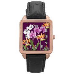 White Blossom Flower Rose Gold Leather Watch  by Simbadda