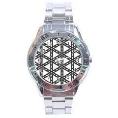 White Background White Texture Stainless Steel Analogue Watch