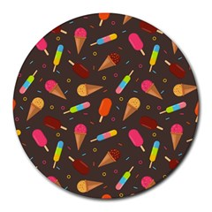 Ice Cream Pattern Seamless Round Mousepads