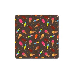 Ice Cream Pattern Seamless Square Magnet by Simbadda