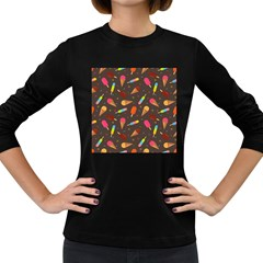 Ice Cream Pattern Seamless Women s Long Sleeve Dark T Shirt